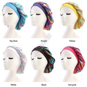 Laser Muslim Women Sleeping Turban Hat Designer Wide Stretch Silk Satin Breathable Bandana Bonnet Skull Cap Chemo Hats Accessories D82702