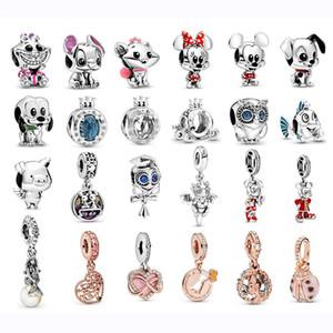 Fit Pandora браслет шарма кота собаки мышь Pig Owl лета Charms Аутентичные Новый Real стерлингового серебра 925 шариков Оригинал Женщины DIY ювелирные изделия