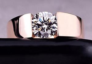 Anelli di nozze della donna degli uomini Classic oro rosa 18 carati placcato in lega di diamante della CZ amanti Promise Ring per donne degli uomini