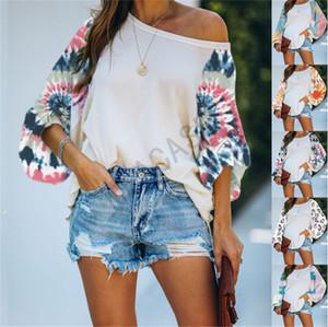 Tie-краситель лоскутное Женские блузки Plus Размер Толстовки Топы Мода Дизайн Длинные рукава вокруг шеи футболки Толстовки Одежда S-3XL D81104