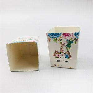 Multi цветы Сахар Box бумаги Качество закуски Дело Фестиваль Unicorn Узоры белый красочные шаблон бонбоньерки для Creative 3jw L1