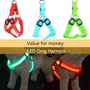 LED Flashing Dog Harness Collar Belt Pet Cat Dog Tether Safety Light Collars Pet supplies Battery Operated 6 colors 3 sizes