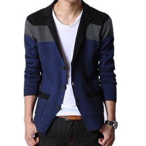 SHIERXI autunno cappotto degli uomini Blazer Moda cucitura Knitting Uomini Giacca Slim cotone per casual cardigan Top Coats