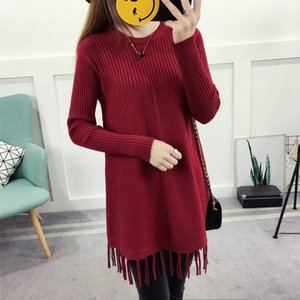 2019 new winter sweater dress tassel in the long sleeve sweater coat color
