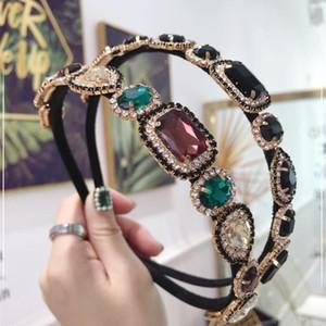 Diseñador retro barroco completa diamantes de imitación venda de la manera Forma Hairband Water Drop Diamond Super Flash diadema de colores 3 colores al por mayor