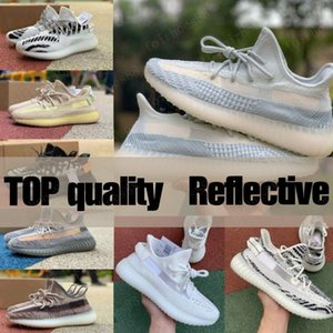 New Kanye Noir statique Ouest Chaussures de course Femmes Hommes 3M Reflective Synth Antlia GID Clay Zebra Beluga véritable forme Sneakers