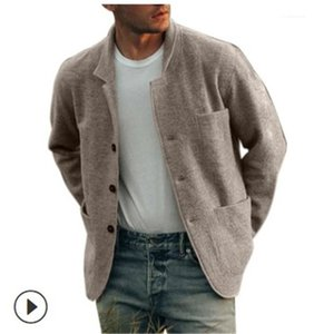 Collar Long Sleeved Jacket Mens Spring Autumn Solid Color Jacket Mens Single Breasted Coats with Pockets Stand