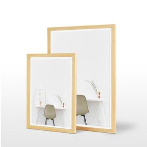 A4 Magnetic Photoframe Metal Fotoframe Porta Foto Menu Holder Solid Wooden Frame