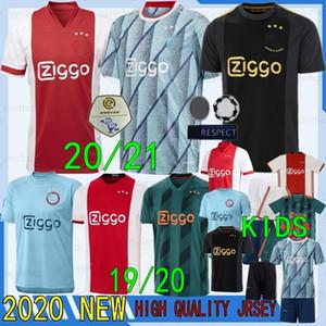 Thai 20/21 New Ajax Soccer Jerseys 9 Huntelaar 10 Tadic 6 Van de Beek 22 Ziyech 25 Dolberg Ricamo Uomo + Kit Soccer Jerseys