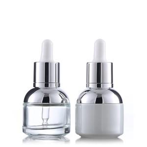 30ml botella de cristal esencia de perla blanca transparente aceite esencial empaquetado cosmético gotero envío WB2553