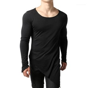 Mens Herbst Tops Langärmlig Breath Teenager Tops New New Mens Unregelmäßige Designer Tshirts Solid Color