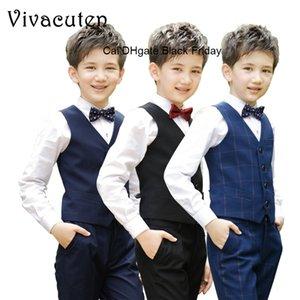 Flowers Boys Formal Suit Wedding Campus Student Dress Gentleman Kids Waistcoat Shirt Pant Bowtie 4Pcs Ceremony Costumes Clothes