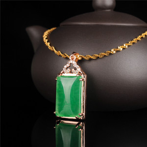 Myanmar Emerald Pendant Brand Emerald Ice Waxy Men and Women A Goods 18K Gold-plated Sweater Chain Pendant