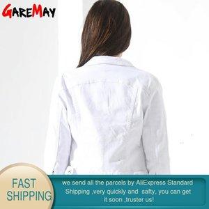 GAREMAY Basic Jeans Chaqueta Mujer Mujeres Blanco Primavera dril de algodón de mezclilla para mujer abrigos y chaquetas Jean corta delgada capa de la chaqueta Femenina CX200815