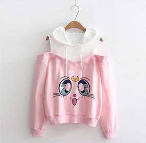 New Sailor Moon Hoodie Kawaii Clothes Tops Women Hoodie Harajuku Sailor Moon Cat Shirt Off shoulder sweatshirt Femme Girls Woman
