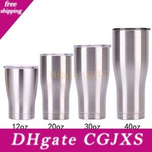 Courbe Tumbler taille 40 oz en acier inoxydable Forme tasses d'eau courbant Gobelets à double paroi vide Bouteille isotherme eau avec couvercle A05