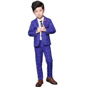 Flower Boys Blazer Jacket +Pants 2Pcs Formal Suit for Weddings Kids Party Tuxedo Dress Children Blazer Performance Costume F284