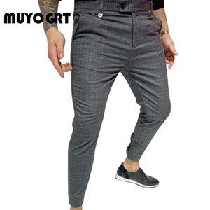 MUYOGRT 2020 Новый Мужчины Брюки Streetwear Jogger Брюки Повседневный пят Клетчатые брюки мужчина бизнеса Sweatpants Тонкий Fit