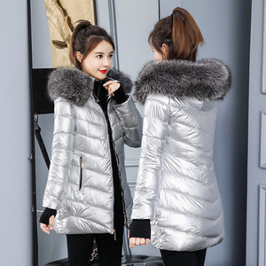 2020 Women's Winter Jacket Fashion Golden Silver Bright Hooded Coat Warm Cotton Padded Long Parkas large fur colla Parka