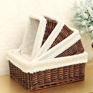4 Sizes Storage Baskets Household Items Handmade Rattan Fruit Debris Laundry Finishing Willow Storage Basket