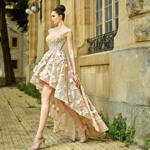 Gorgeous High Low Sheer Back Prom Dresses 3D Flower with Crystal Beads Evening Party Gown Illusion Organza Women's Special Occasion Dress