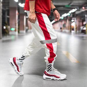 New Summer Thin Side Stripe Pants Hip Hop Reflective Pant Drawstring Sweat Trousers Men 5XL Harem Joggers