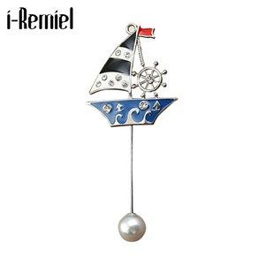 i-Remiel estilo britânico estrela de cinco pontas Pins e Broche Sailing Águia Bottle Cap agulha longa Broche por Homens Mulheres vestido do terno