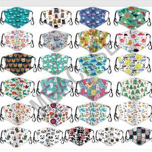 Las mascarillas dibujos animados de moda para niños con 2 filtros de Niños Niñas mascarilla de Máscaras reutilizables Diseñador PM2.5 anti boca del polvo de la cubierta lavable Máscara D81007
