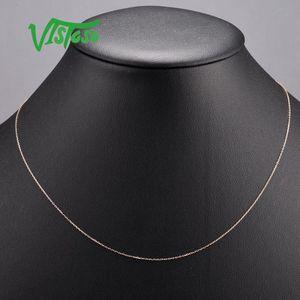 Vistoso Altın Kolye için Kadınlar hakiki Rose Gold kolye Zincir 42cm Güzel Takı LJ200831