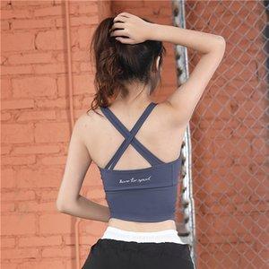 LEOQ empuja hacia arriba el sujetador de la yoga Sexy Back Cross sujetador de los deportes de belleza Volver Deporte -proof ropa interior de fitness correa de hombro Top