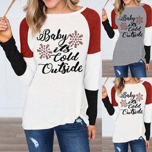Рождество футболки на улице холодно Письмо печати Снежинка шеи пуловер шею длинным рукавом осень Женщины моды HHA1519