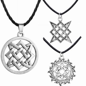 Vintage slave Pendentif Étoile de la Russie Kolovrat Symboles Corde chaîne Homme Femme Collier ethnique