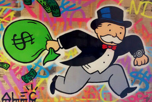 Alec Monopoly Graffiti art Wall Decor Money Bag Home Decor Handpainted &HD Print Oil Paintings On Canvas Wall Art Large Picture 200822