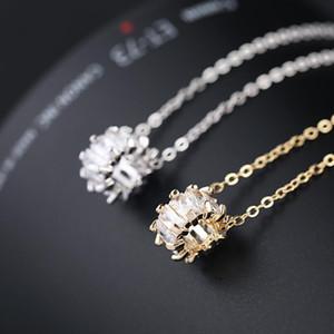 Qualidade 18K pingente de ouro colar de prata Moda Mix strass Swan chave caudas de flores coração colar de pérolas desconto atacado jóias