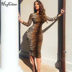 Hugcitar Leopard Print с длинным рукавом Slim Bodycon Sexy платье осень зима женские уличные одежды вечеринки фестиваль платья 200922