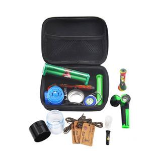 12pc tabac sac en plastique Set de fumer Grinder Pot de rangement en métal étain silicone pipe Un Hitter Pirogue rouleuse GGA3745-2