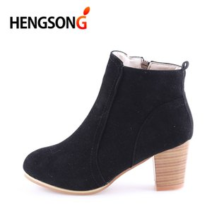GAOKE Spring Autumn Ankle Boots Pointed Toe Zipper Women Thick Square Heel Martin Boots Lady Worker Size 35-40 RD400000
