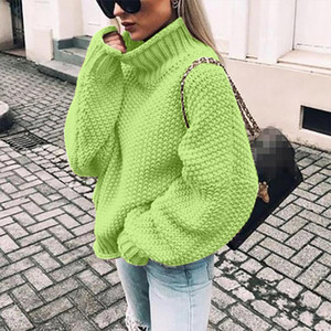 Womens Turtleneck Off The Shoulder Sweater Casual Knitted Loose Long Sleeve Pullover Popular Soft Handfeel Loose Female Sweater
