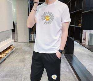 Мужские костюмы 2020 Новая мода Mens Small Daisy Печать Двухсекционный Leisure Suit вскользь Men Активен дышащая Подходит 4 цвета Размер M-4XL