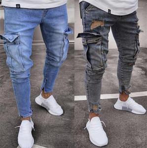 Mode Zipper Fly lambrissé Hommes Crayon Pantalons hommes Vêtements décontractés Mulit poches lambrissé Mens Designer Jeans
