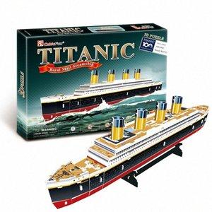 3D Puzzles Crianças Adultos Puzzles para Adultos Aprendizagem Educação Brain Teaser Monte Toy Titanic Navio modelo Jogos Jigsaw pV5Y #