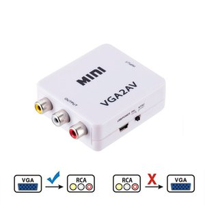 VGA to AV Mini Converter Adapter Support 1080P VGA2AV Converter PC to TV HD Computer to TV Wholesale