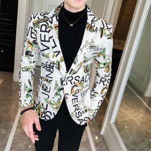 ТАН Цветочные Мужчины Blazer 2020 Новый бренд Письмо Printed Blazer вскользь тонкий Мужчина для Fit бизнеса Формальные Черный Мужские куртки костюм