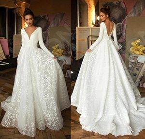 2020 Dernière dentelle Robes de mariée en satin Deep V cou à manches longues robe de mariée sans dos robe de mariée appliques robe de mariée
