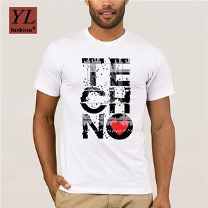 Nueva tendencia de la moda I Love Techno camiseta de los hombres Music T personalizada camisa del traje adolescente cuello redondo original Detroit Techno
