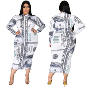Plus Size Women Long Dress Dollars Print Long Sleeve Dresses Fashion High-collared One-piece Skirt Bodycon Autumn Dress Ladies Outfits L-5XL