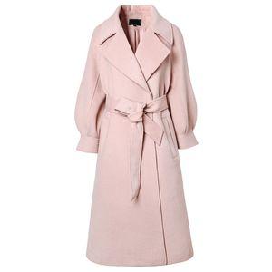 2020 New Autumn Winter Women Sweet elegant long woolen warm coat Luxury Double-sided Cashmere Faux wool coat cc569