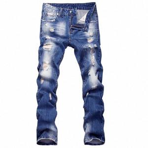 Nuovo modo del Mens distrutto strappato jeans da uomo hip hop motociclista lavare i pantaloni denim blu diritta sottile dei jeans da moto casuali Yamy #