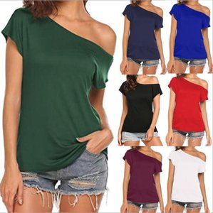 Femmes Lady Femme Une épaule Crop Tops Slash Col Sexy Manches courtes Sexy Manches courtes T-shirt Débardeurs Summer Beach Vest Vêtements de mode Été