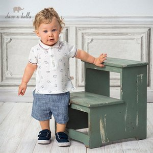 DB13136 Dave bella yaz erkek bebekleri moda baskı cepler giyim setleri çocuk yakışıklı kısa kollu setleri çocuk 2 adet Olof # uyacak